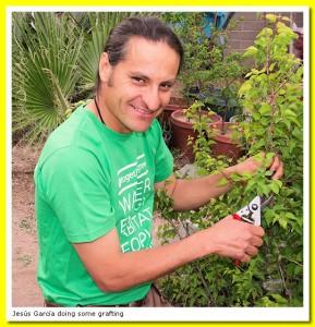 Jesús García in the garden