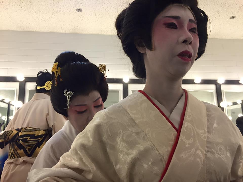 Master artist Mari Kaneta helps apprentice Suzu Igarishi prepare for a traditional Japanese dance. (Photo: K. Eisele)