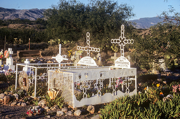 Graves with horse shoes in the Leon Ranch Cemetery