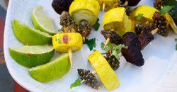 Vegetable and Cholla Bud Skewers