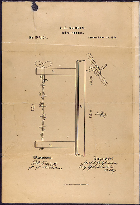 Barbed wire patent drawing